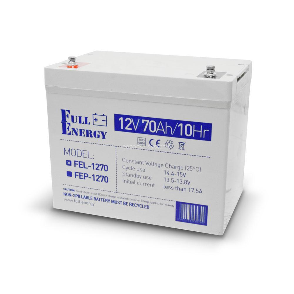 Акумулятор гелевий 12В 70 Аг для ДБЖ Full Energy FEL-1270