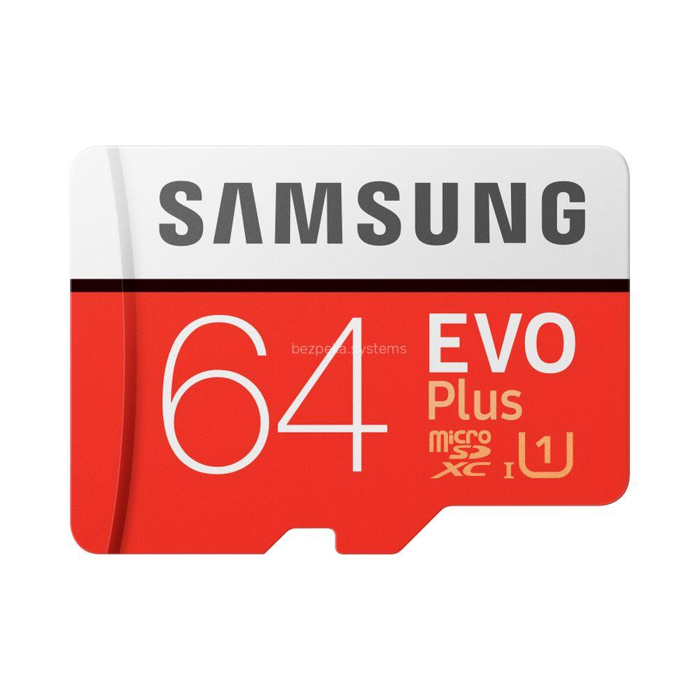Карта пам'яті Samsung 64GB microSDXC C10 UHS-I U1 R100/W20MB/s Evo Plus V2 + SD адаптер (MB-MC64HA/RU)