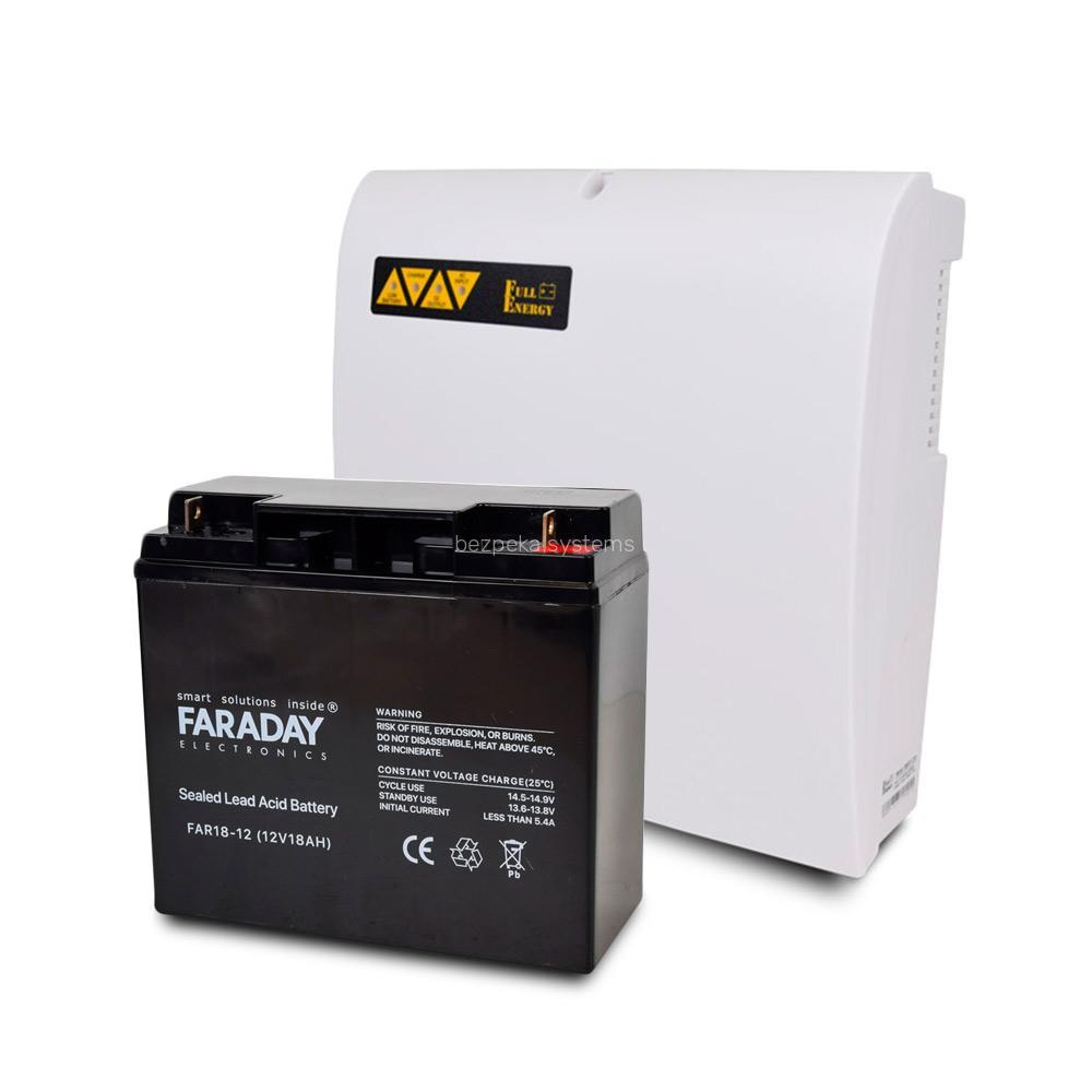 Комплект блок безперебійного живлення Full Energy BBGP-1210 + акумулятор 12В 18 Ач для ИБП Faraday Electronics FAR18-12