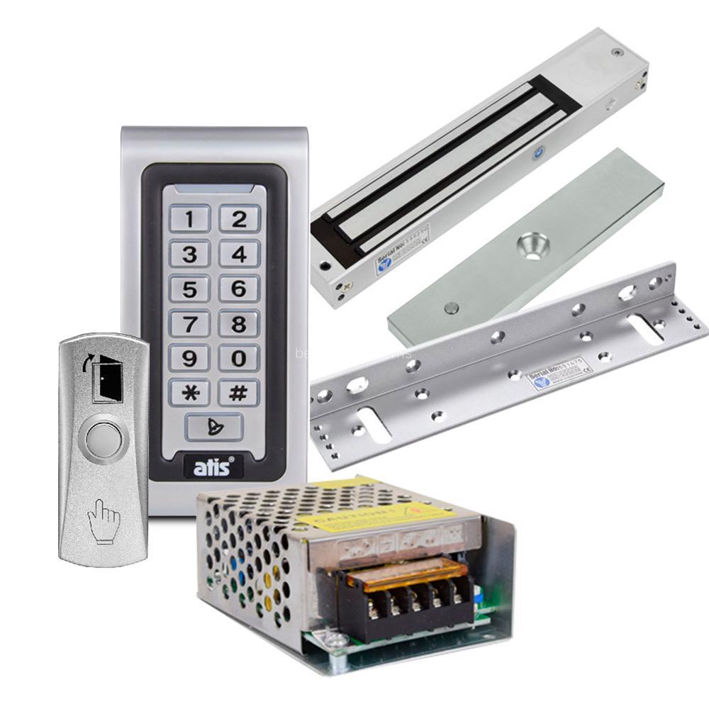 Комплект контролю доступу з кодовою клавіатурою ATIS AK-601W, електромагнітним замком Yli Electronic YM-280N, куточком Yli Electronic MBK-280NL, кнопкою виходу Yli Electronic PBK-815, блоком живлення Full Energy BGM-123Pro 12 В / 3 А