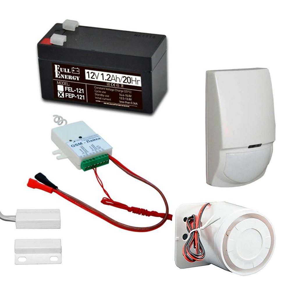 Комплект охоронної GSM сигналізації з GSM-Лайка, датчиком руху, герконом, сиреною, акумулятором