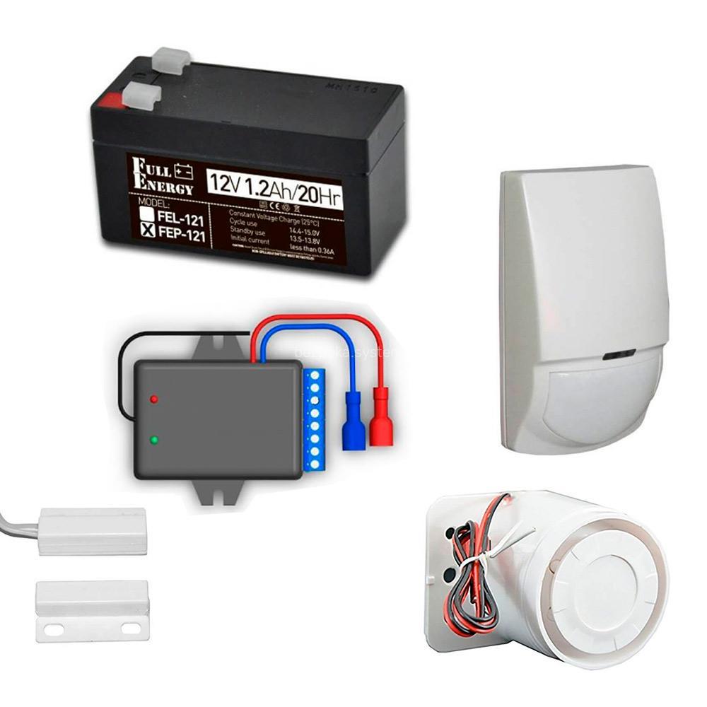 Комплект охоронної GSM сигналізації з GSM OKO-SX, датчиком руху, герконом, сиреною, акумулятором